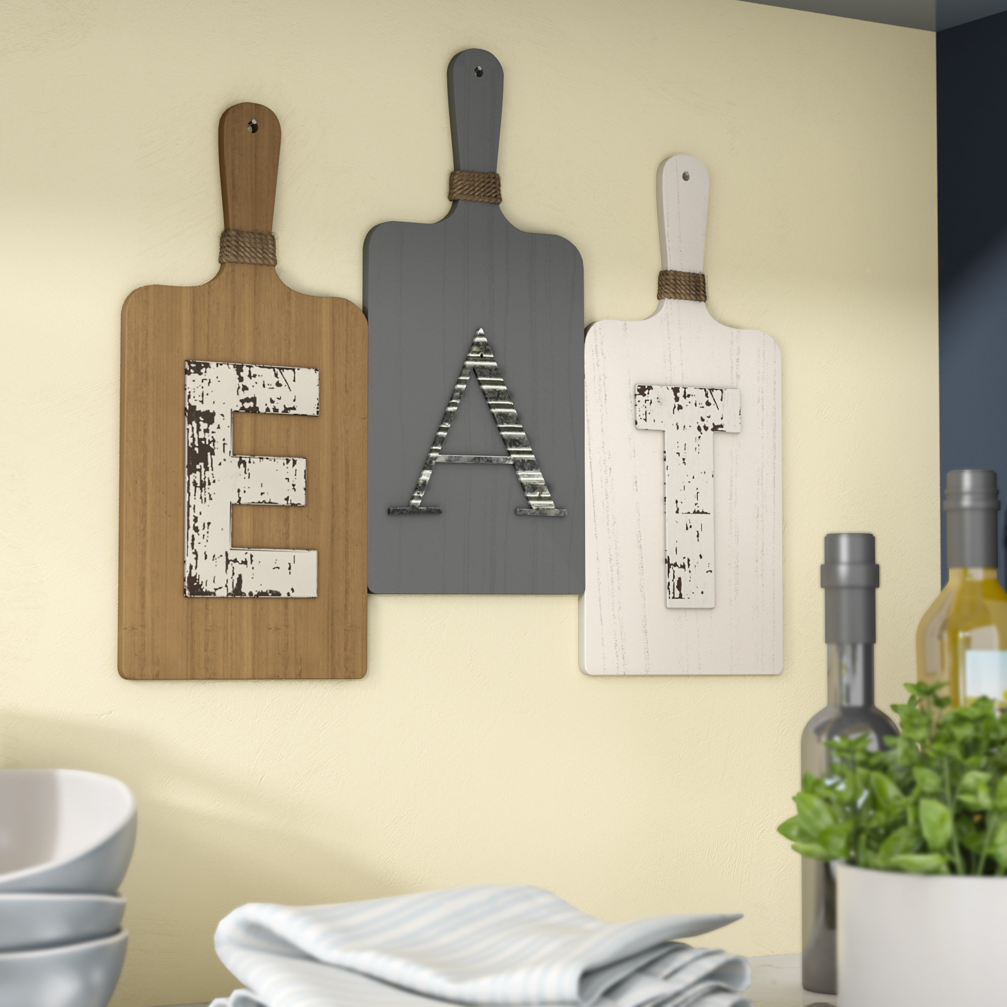 "Grey ""eat"" Sign With Rebar Decor Throughout 2020 Charlton Home Eat Rustic Farmhouse Wood Wall Décor & Reviews (Gallery 10 of 20)"