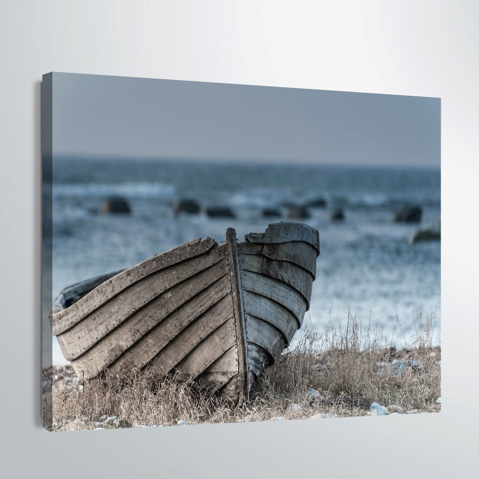 Home Decor Printed Old Small Wooden Boat Print Painting Wall Art Throughout Latest Metal Alloy Boat Wall Decor (Gallery 19 of 20)
