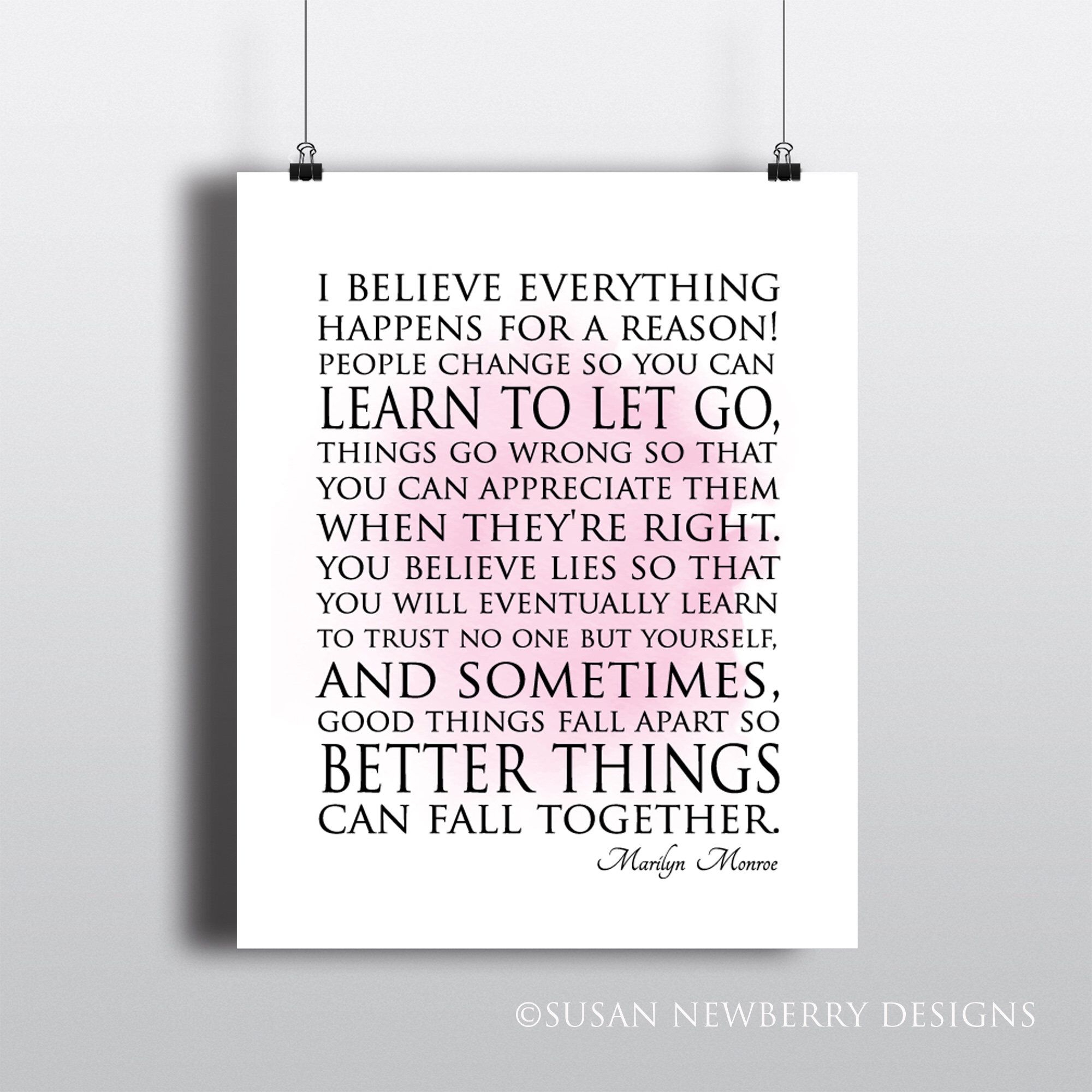 I Believe Everything Happens For A Reason – Marilyn Monroe Quote Pertaining To Most Recently Released Rectangle Like Yourself Inspirational Typography Wall Plaque (View 14 of 20)