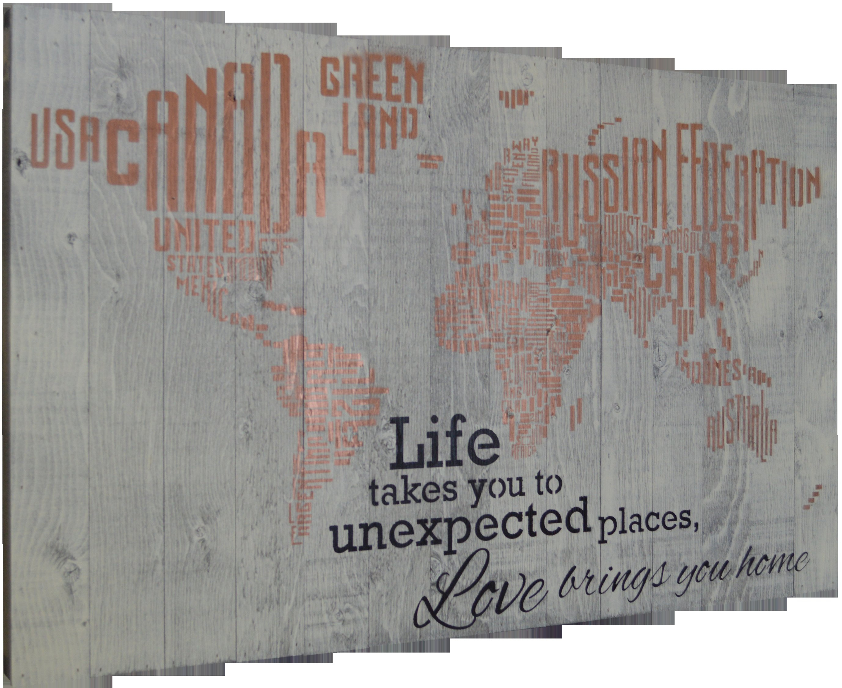 "In A Word ""welcome"" Wall Decor By Fireside Home Within Fashionable Firesidehome In A Word World Map – Life Takes You To Unexpected (Gallery 7 of 20)"