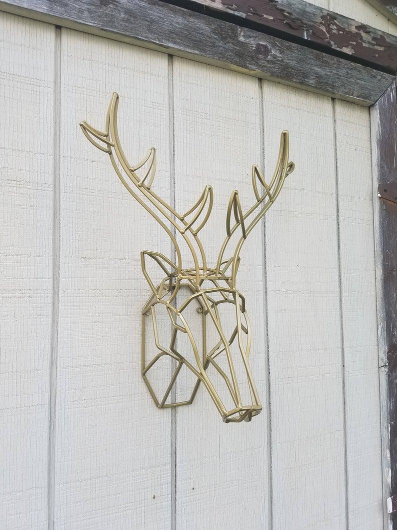 Large Deer Head Faux Taxidermy Wall Decor Regarding Recent Geometric Wall Decor / Iron Deer Head / Metal Deer Art/ Deer (View 9 of 20)