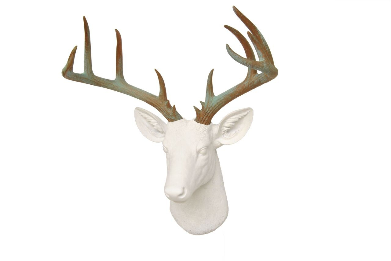 Large Deer Head –faux Taxidermy – White And Patina Stag Wall Mount With Most Up To Date Large Deer Head Faux Taxidermy Wall Decor (Gallery 20 of 20)