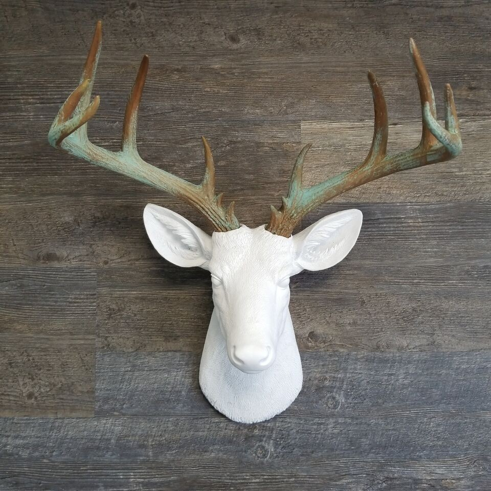 Large Deer Head –Faux Taxidermy - White And Patina Stag Wall Mount with Well known Large Deer Head Faux Taxidermy Wall Decor