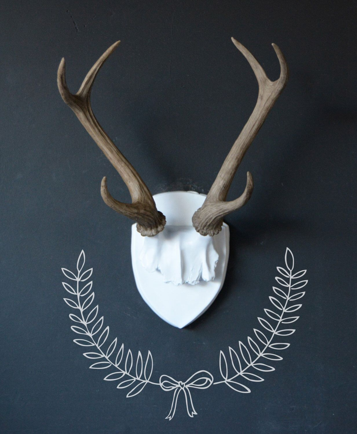 Large Faux Deer Antler Mount, White Plaque With Natural Antlers In Most Recently Released Atlantis Faux Taxidermy Wall Decor (View 8 of 20)