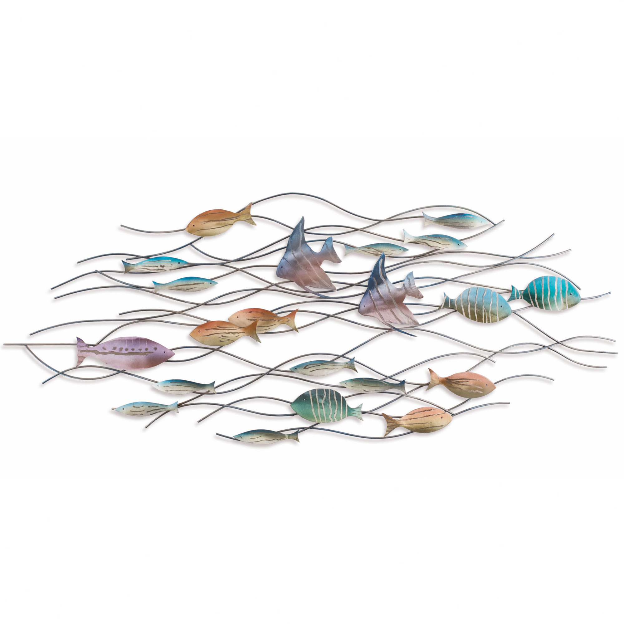 Large School Of Tropical Fish - Nautical Metal Wall Art in Favorite Coastal Metal Fish Wall Decor