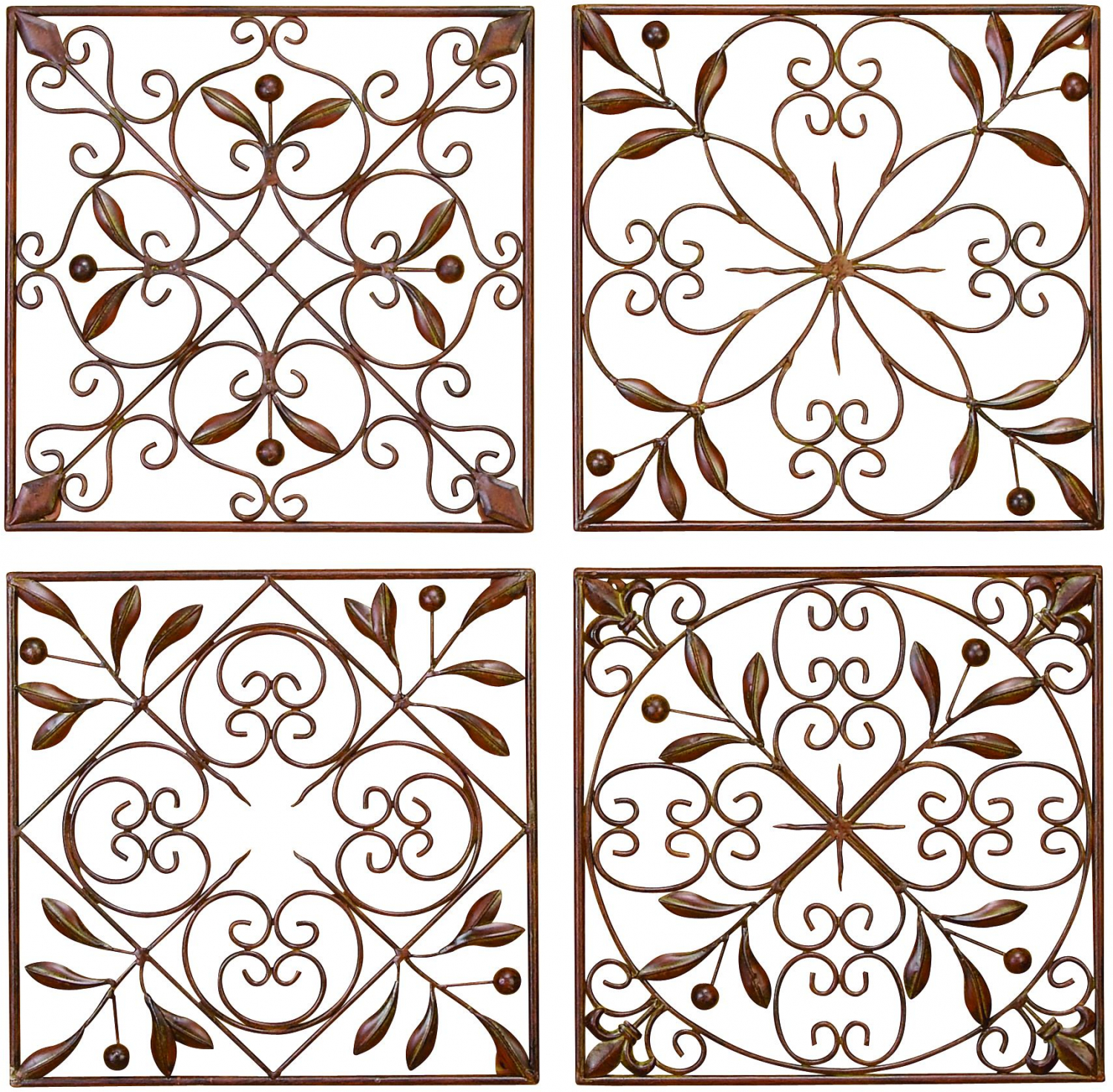 Latest Decmode Rustic Bronze Scrolled Metal Wall Decor – Set Of (View 9 of 20)