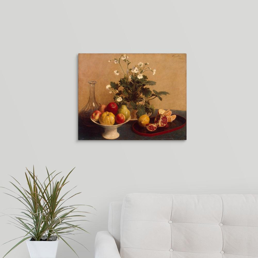 """Latest Greatbigcanvas """"flowers, Dish With Fruit And Carafe, 1865""""ignace Intended For Latour Wall Decor (View 9 of 20)"""