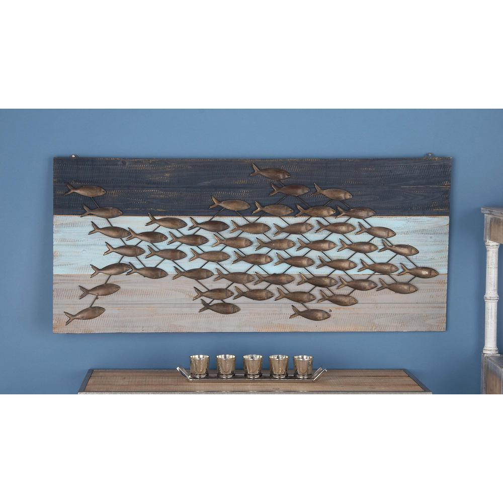 Latest Litton Lane 48 In. X 21 In. Coastal Living Wood And Metal Fish Wall regarding Coastal Metal Fish Wall Decor