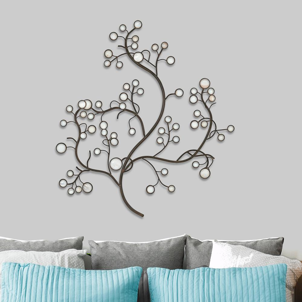 Latest Tree Shell Leaves Sculpture Wall Decor For White Capiz Shell Tree Metal Work Wall Decor 2256 – The Home Depot (Gallery 6 of 20)