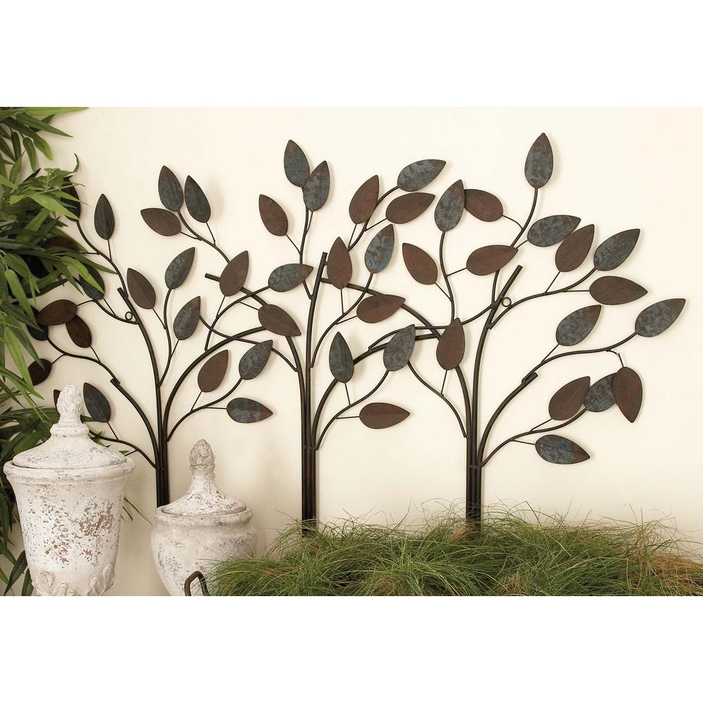 Latest Tree Shell Leaves Sculpture Wall Decor regarding Litton Lane 48 In. X 27 In. New Traditional Blue And Brown Row-Of