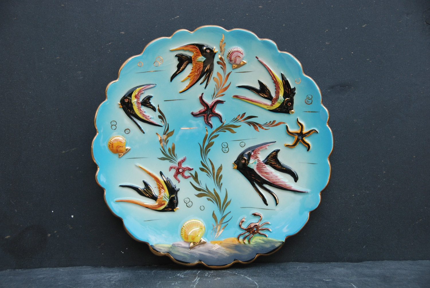 Latest Vintage French 1950s Glazed Ceramic Plate For Wall Decor. (Gallery 4 of 20)
