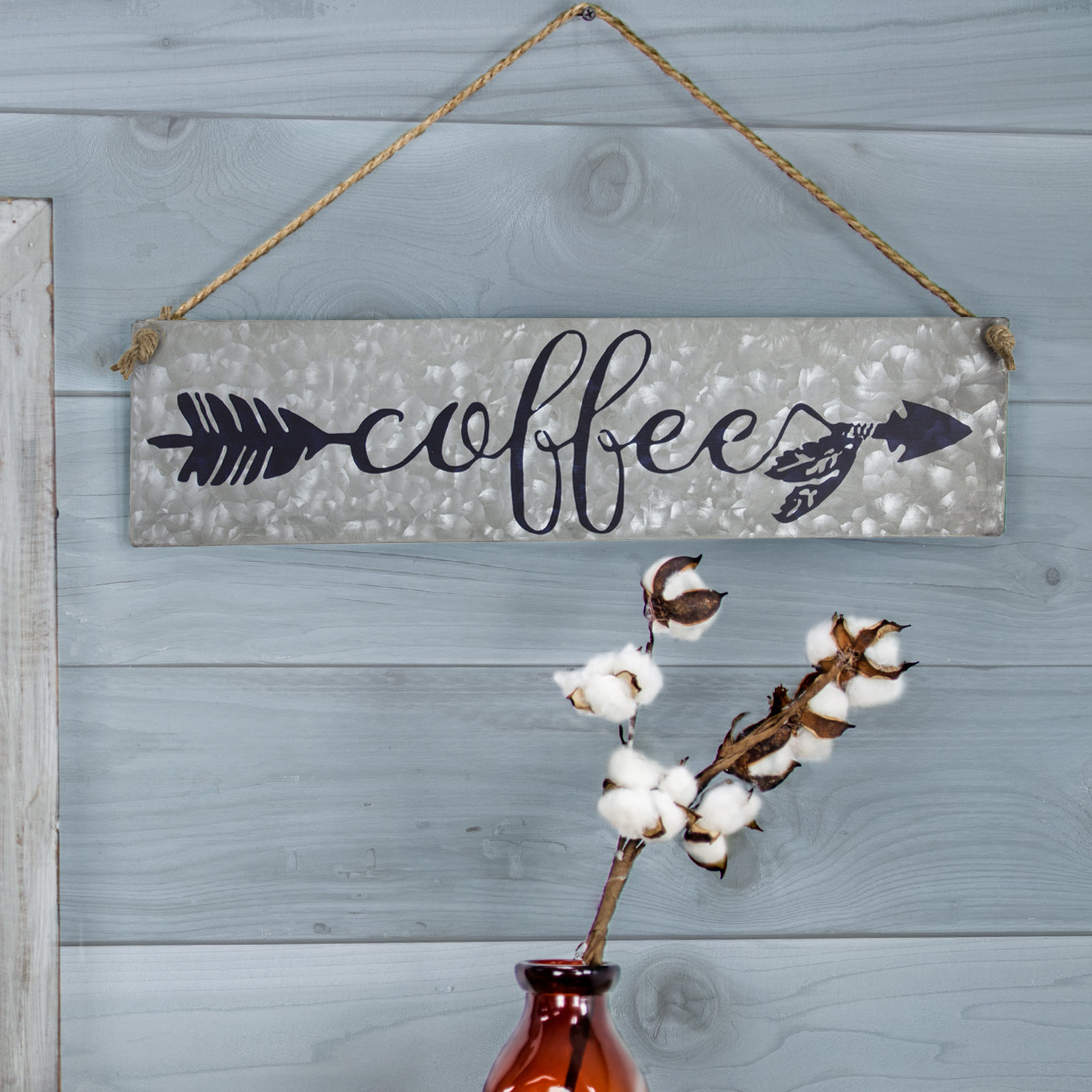 Latest Winston Porter Galvanized Metal Hanging Coffee Sign Wall Décor (View 10 of 20)