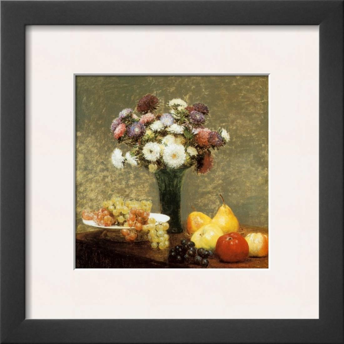 Latour Wall Decor regarding Preferred Asters And Fruit Framed Art Print Wall Arthenri Fantin-Latour