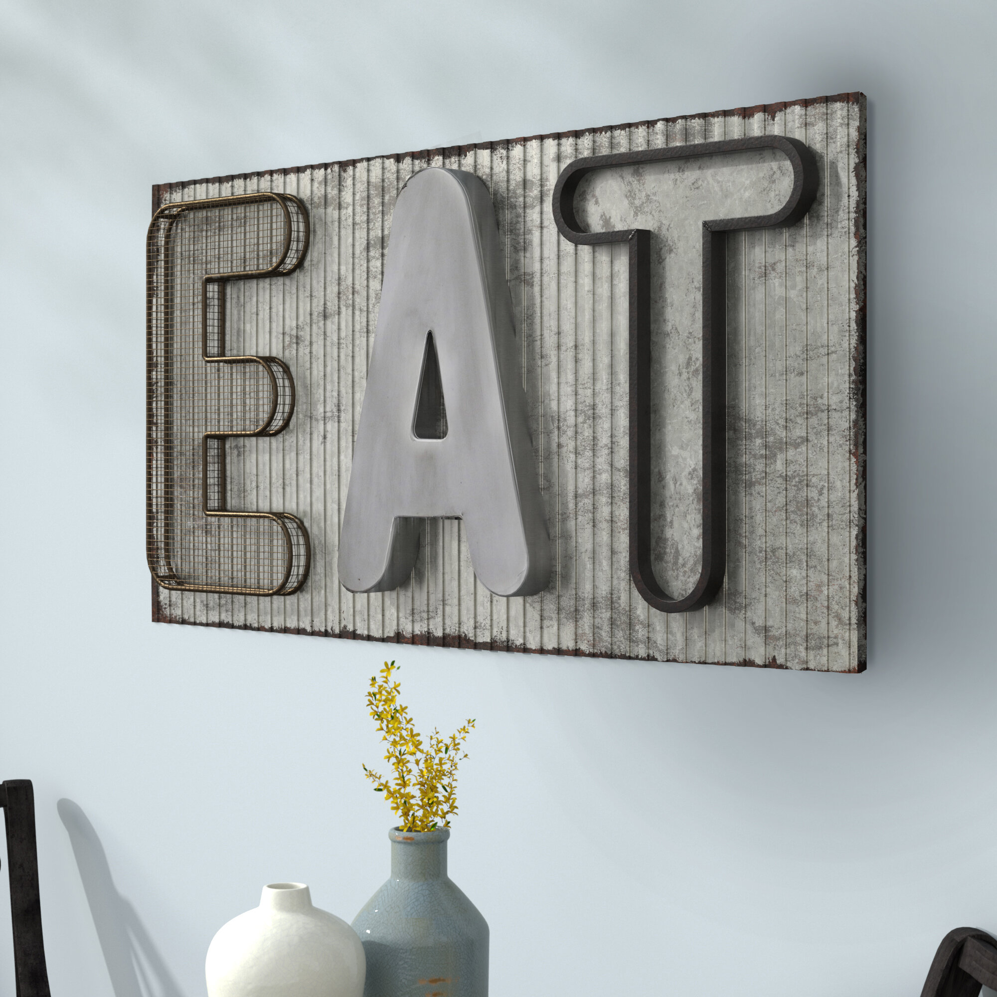 """Laurel Foundry Modern Farmhouse Metal Industrial Eat Sign Wall Décor With Regard To Widely Used Grey """"eat"""" Sign With Rebar Decor (View 12 of 20)"""