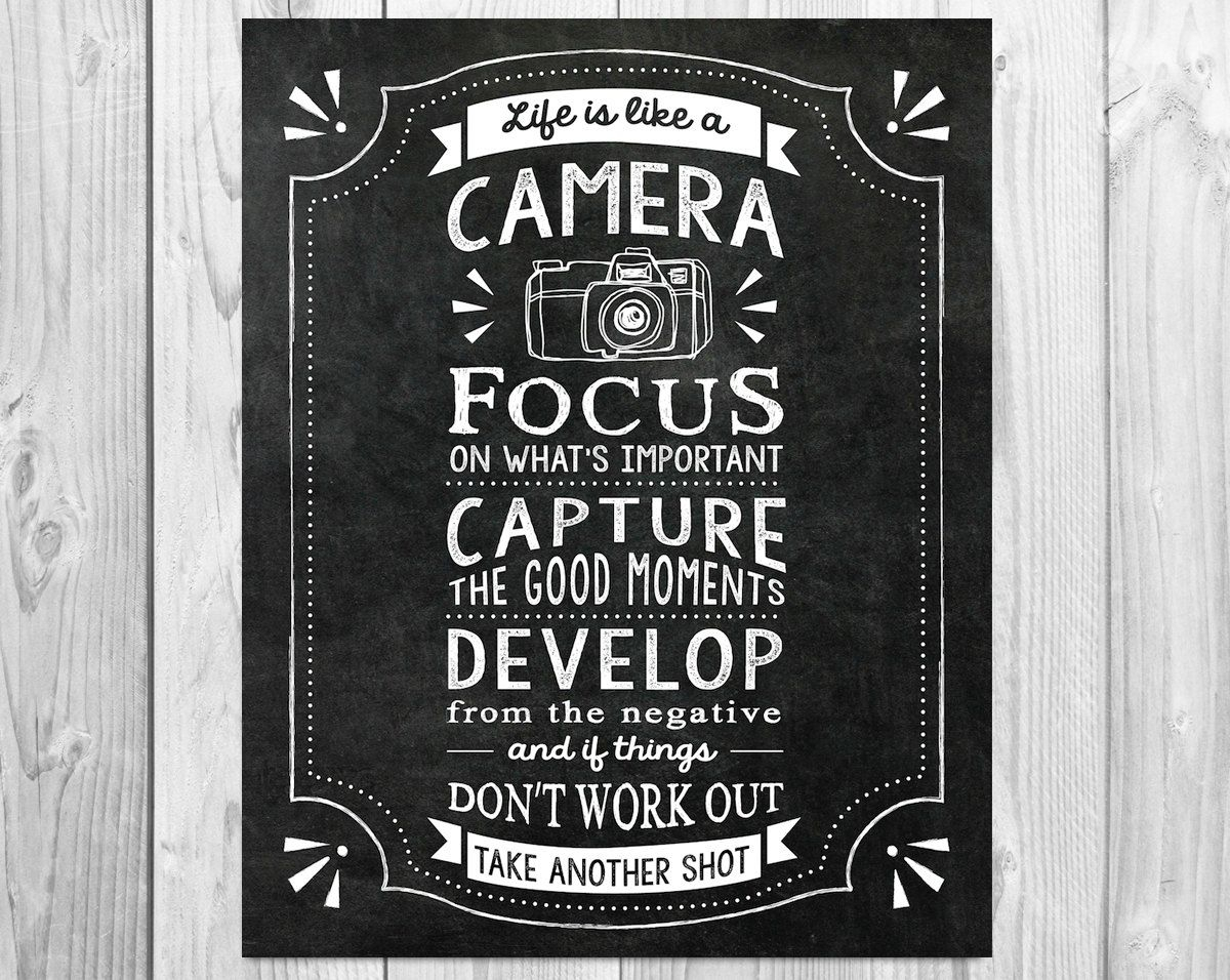 Life Is Like A Camera Textual Art Throughout Newest Life Is Like A Camera Quote, Digital File, Inspirational Chalkboard (View 11 of 20)