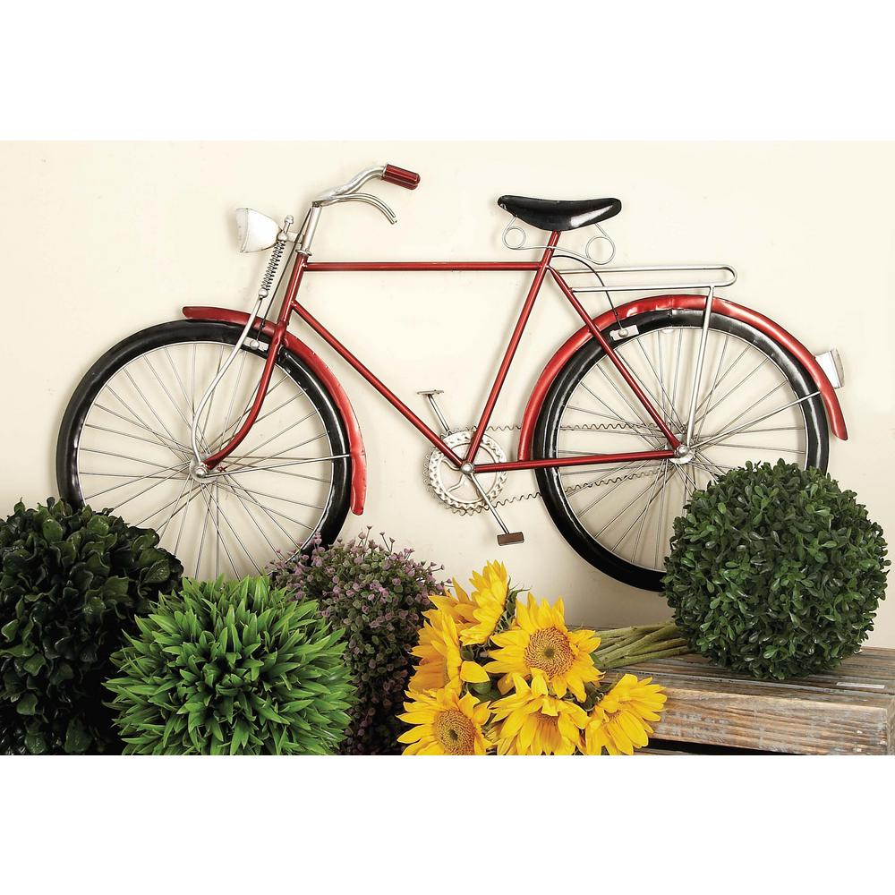 Litton Lane 36 In. X 19 In. Vintage Red Iron Bicycle Wall Decor With Most Recent Metal Bicycle Wall Decor (Gallery 7 of 20)