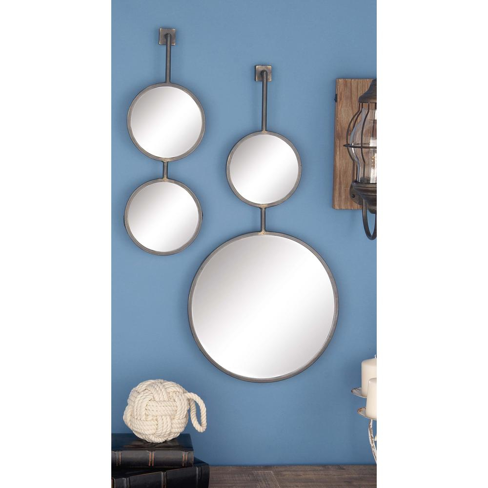 Litton Lane 4 Piece Modern Suspended Metal Wall Mirror Set 47951 Regarding Preferred Metal Wall Decor (Set Of 4) (View 4 of 20)
