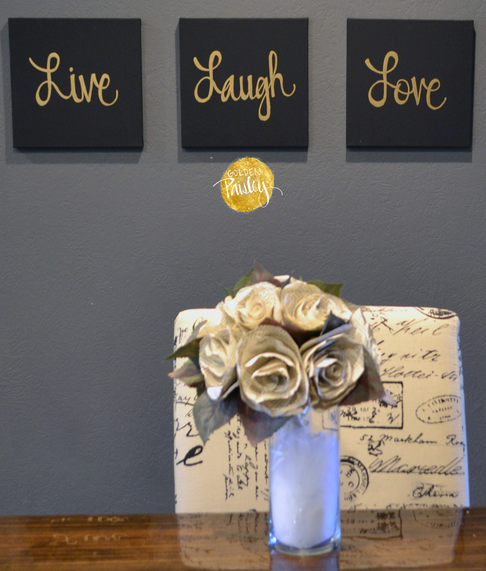 Live Love Laugh 3 Piece Black Wall Decor Sets intended for Well-known Live Laugh Love Black & Gold 3 Piece Wall Decor Set