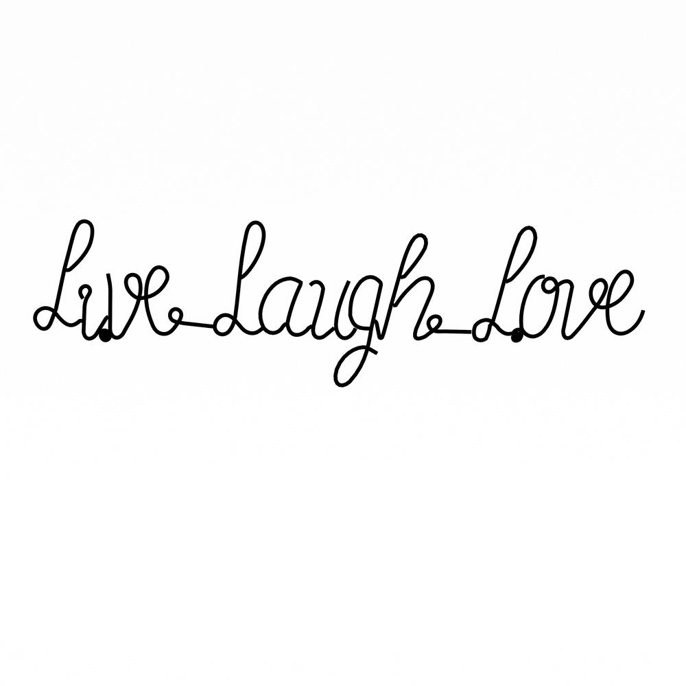 """Live Love Laugh 3 Piece Black Wall Decor Sets throughout Widely used Lavish Home """"live Laugh Love"""" Metal Cutout Sign Hw0200040 - The Home"""