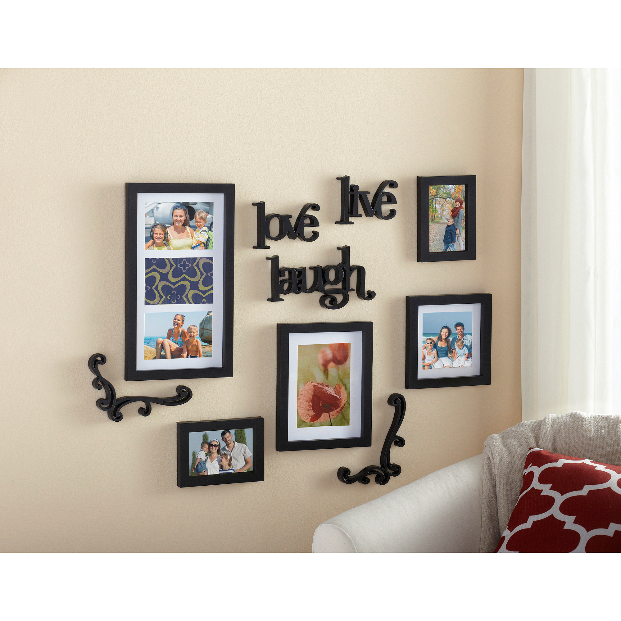 Live Love Laugh 3 Piece Black Wall Decor Sets within Most Current 4X6 White Wood Picture Frame - Gallery Collection - Walmart