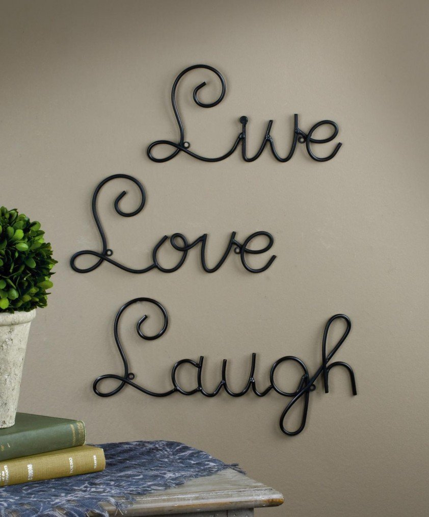 Live Love Laugh Set 3 Wall Mount Metal Wall Word Sculpturesuper in Most Current Live Love Laugh 3 Piece Black Wall Decor Sets