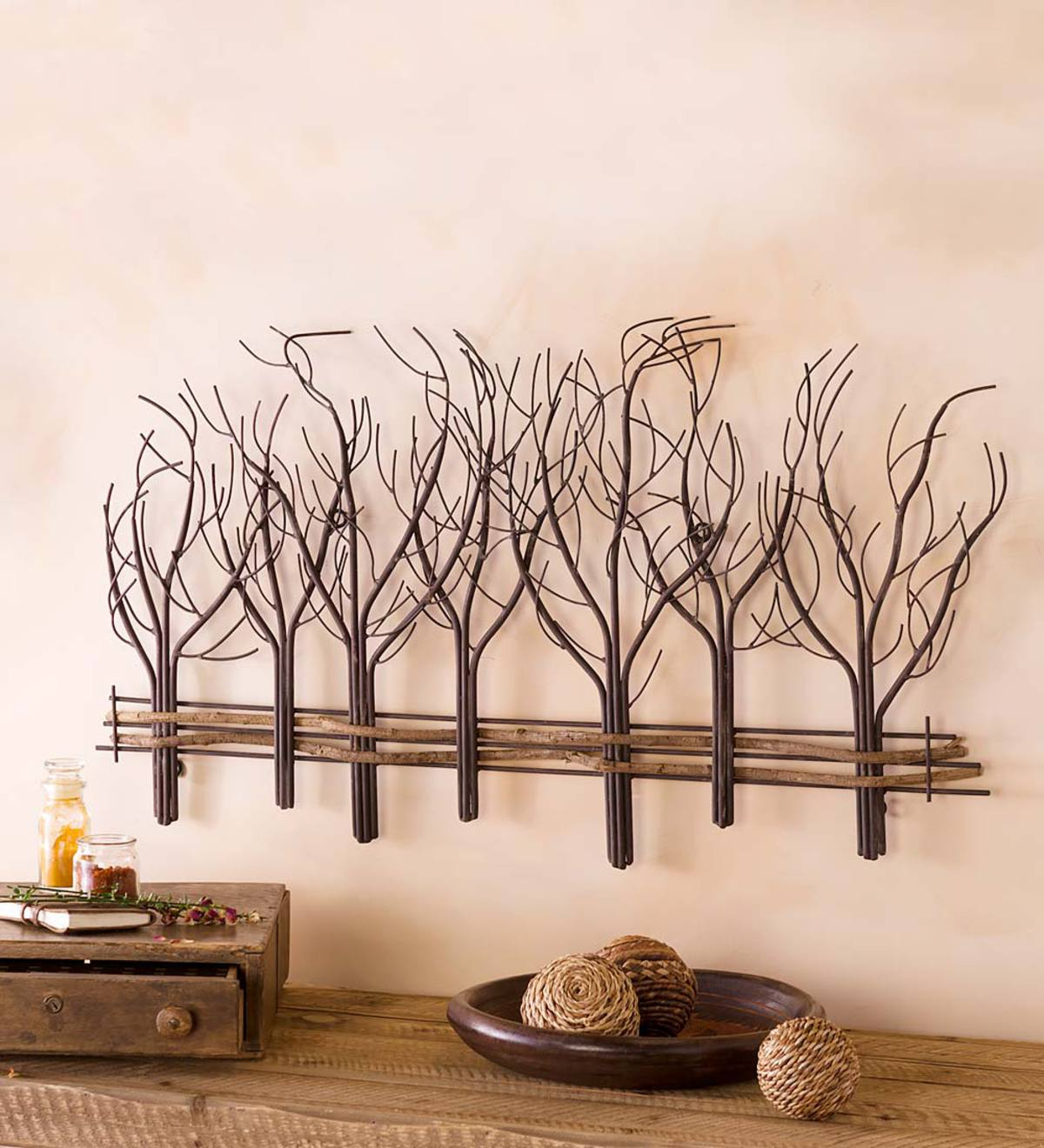 Metal And Natural Vine Winter Tree Wall Art (View 7 of 20)
