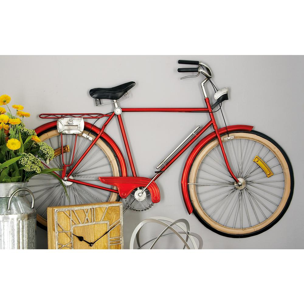 Metal Red Bicycle Wall Decor 65536 – The Home Depot In Newest Metal Bicycle Wall Decor (View 5 of 20)