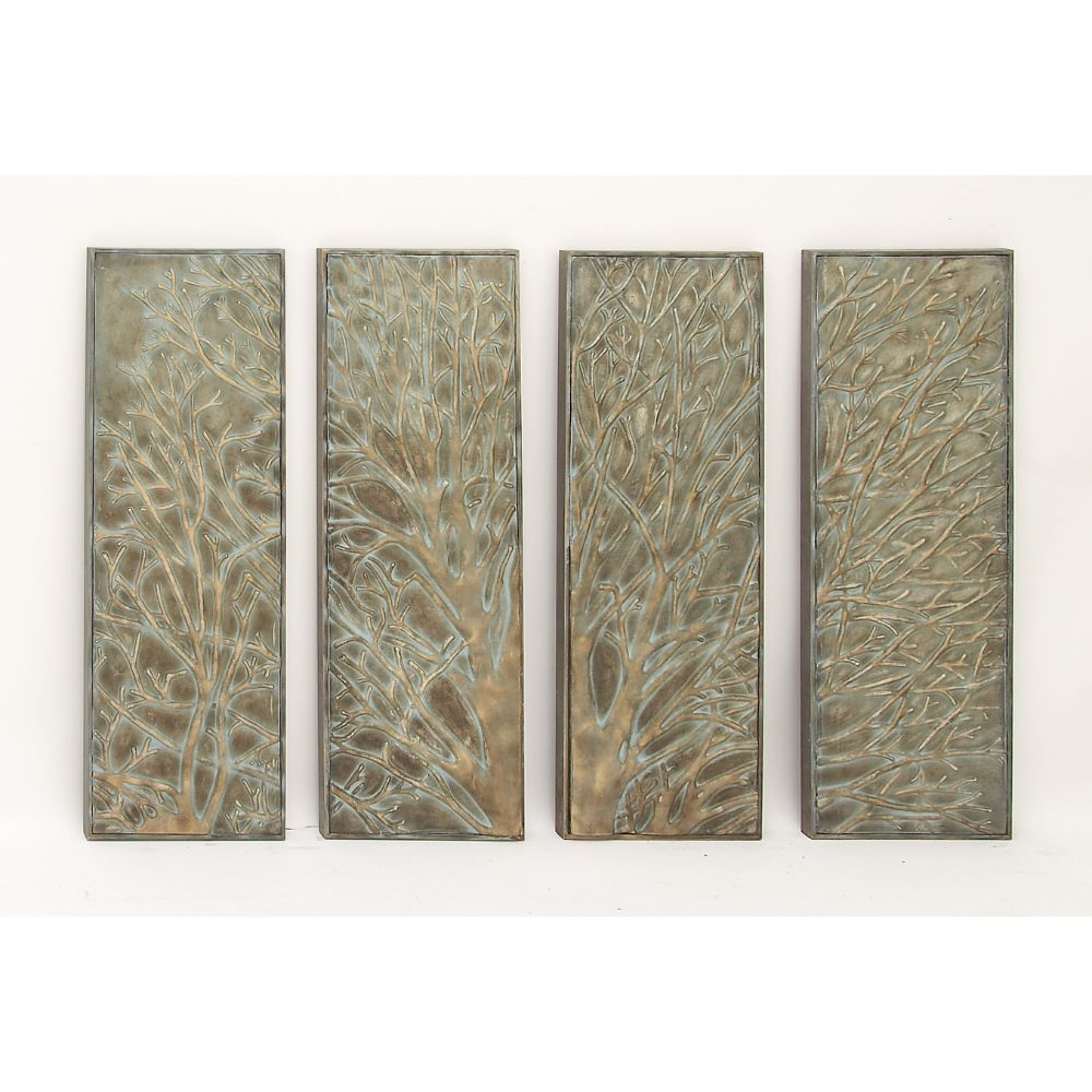 Metal Wall Decor (Set Of 4) Intended For Most Up To Date Shop Copper Grove Hyssop Metal Tree Wall Decor (Set Of 4) – Free (View 5 of 20)