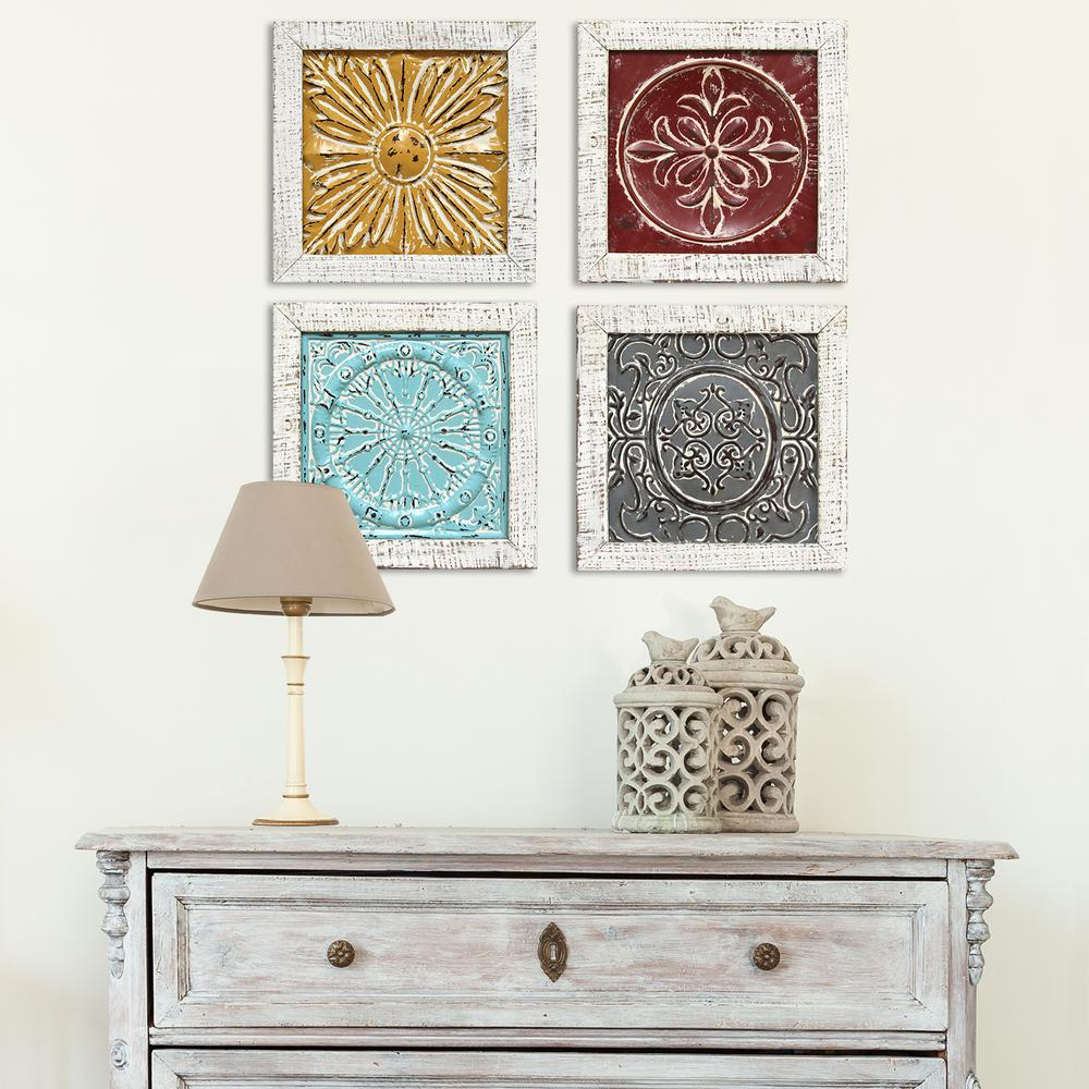 Metal Wall Decor (Set Of 4) Regarding 2020 Stratton Home Decor Accent Metal Tile Wall Art (Set Of 4) S (View 6 of 20)
