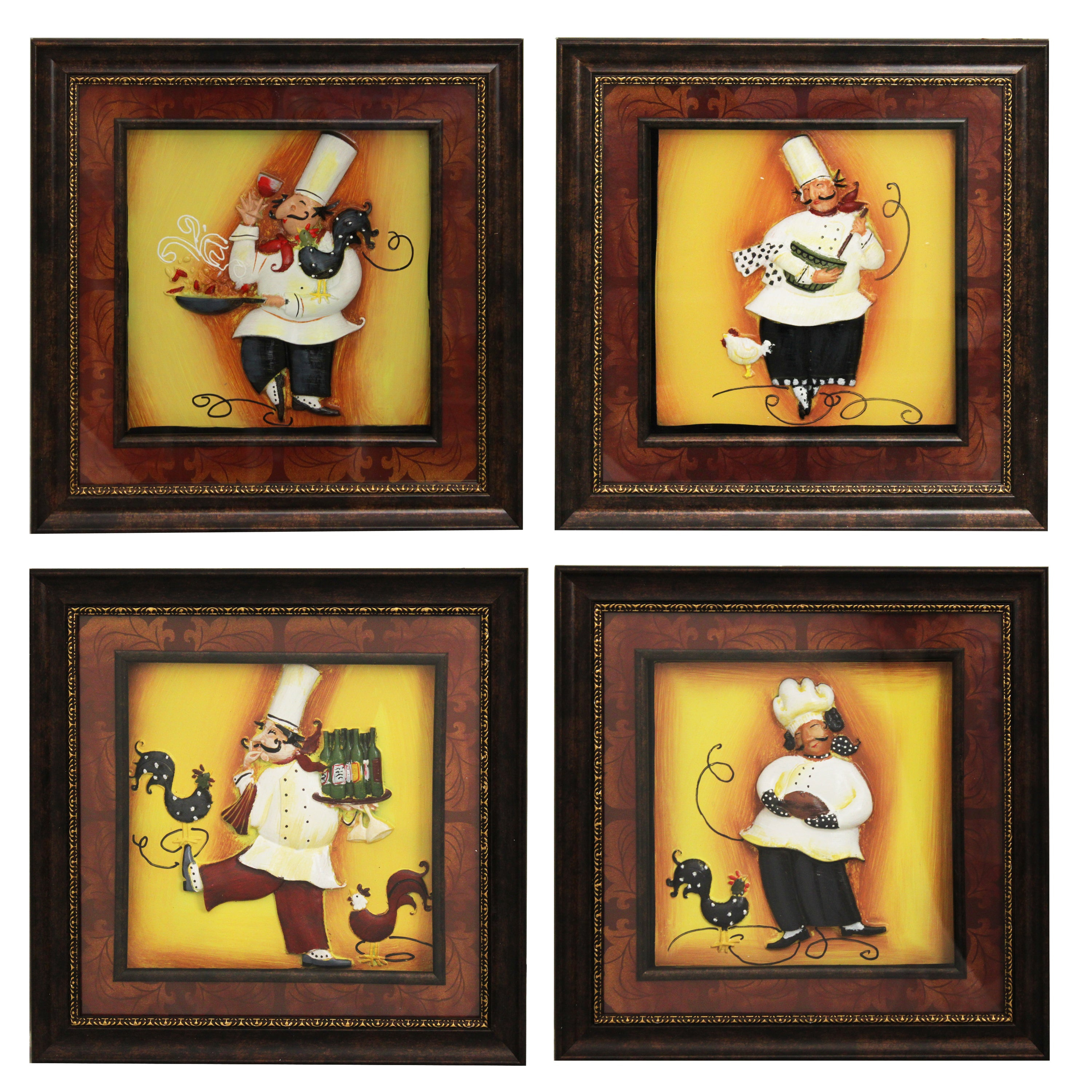 Metal Wall Decor (Set Of 4) Throughout Best And Newest Shop 'chef' Framed 3D Metal Wall Art (Set Of 4) – Free Shipping (View 9 of 20)