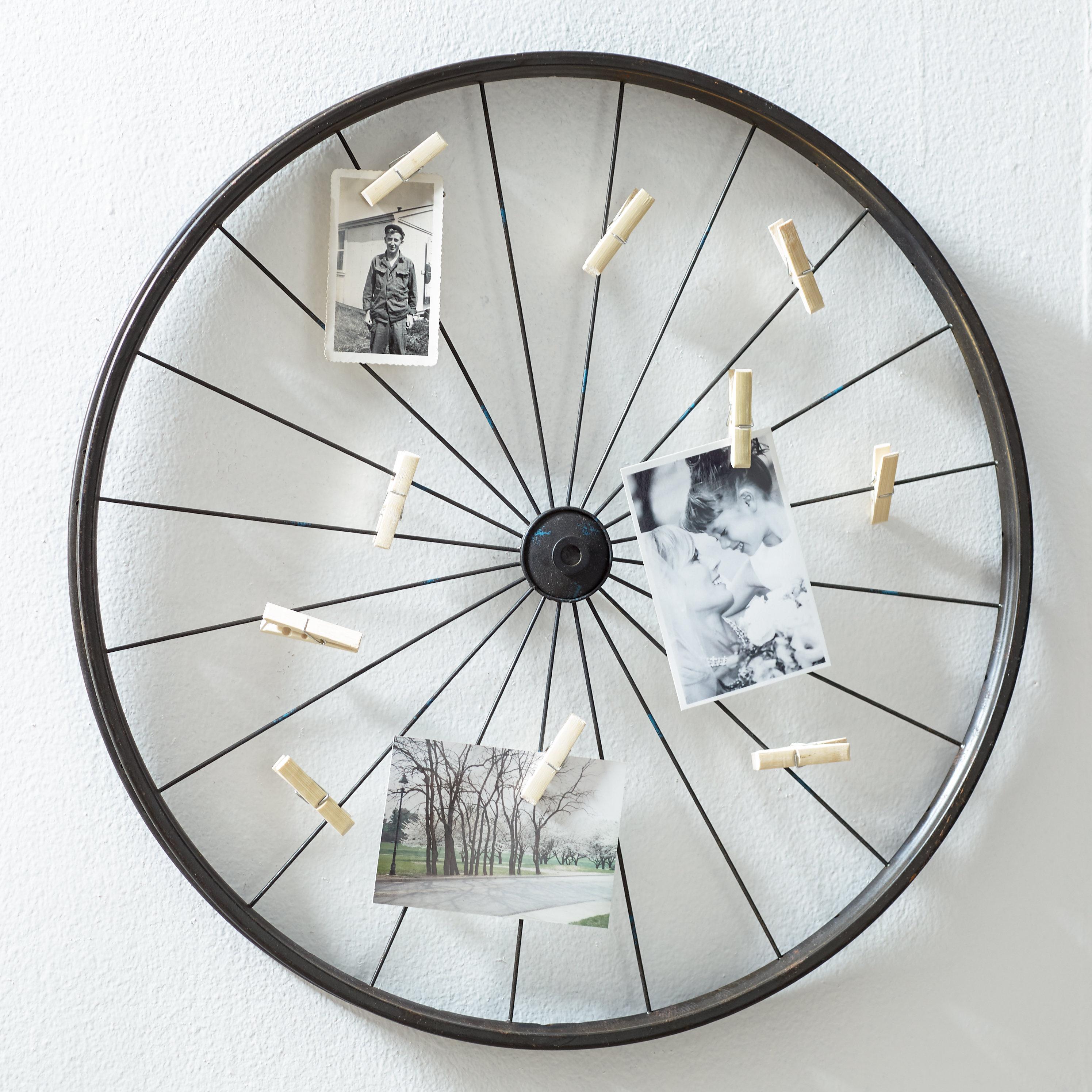 Featured Photo of Millanocket Metal Wheel Photo Holder Wall Decor