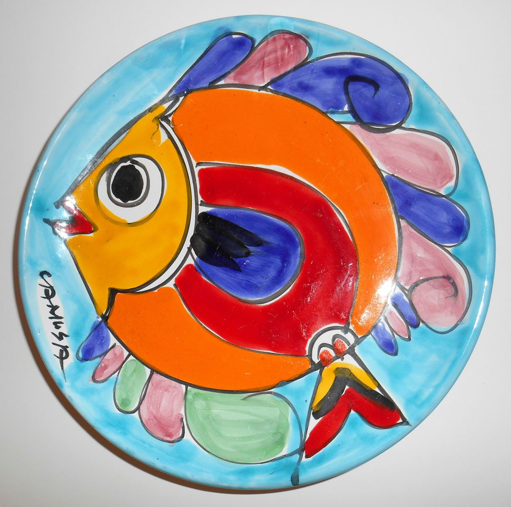 "Most Current Ceramic Blue Fish Plate Wall Decor Regarding La Musa Fish Plate Wall Decor 10"" Red Yellow Blue Majolica Signed (View 14 of 20)"