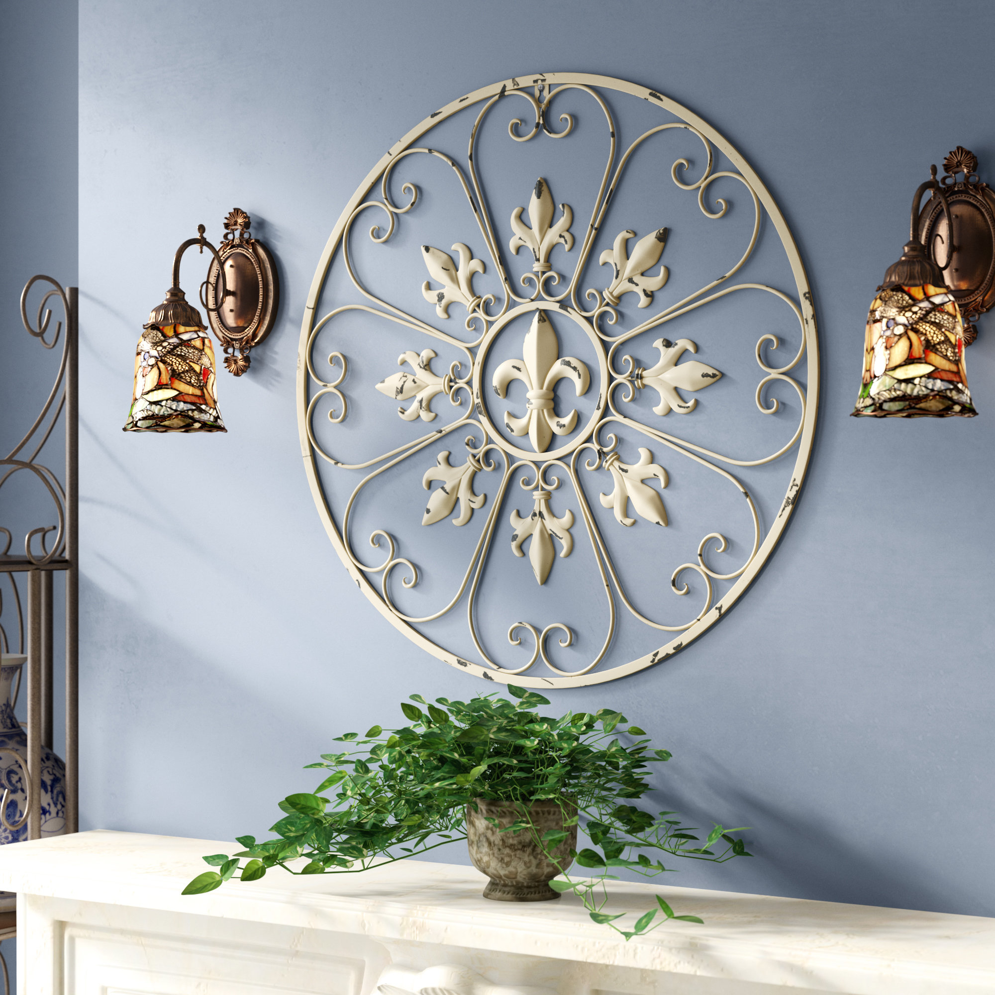 Most Current Metal Wall Decor By Charlton Home With Fleur De Lis Living Gracie Fleur De Lis Circular Metal Wall Décor (View 12 of 20)