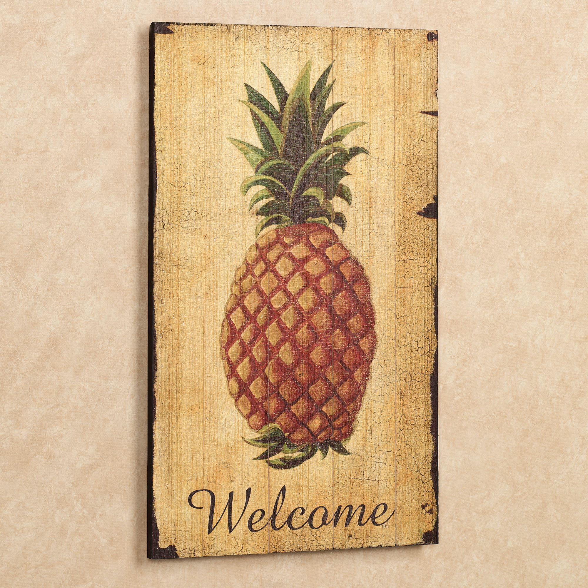 Most Current Pineapple Wall Decor Within Pineapple Vintage Welcome Sign Wall Art (View 10 of 20)