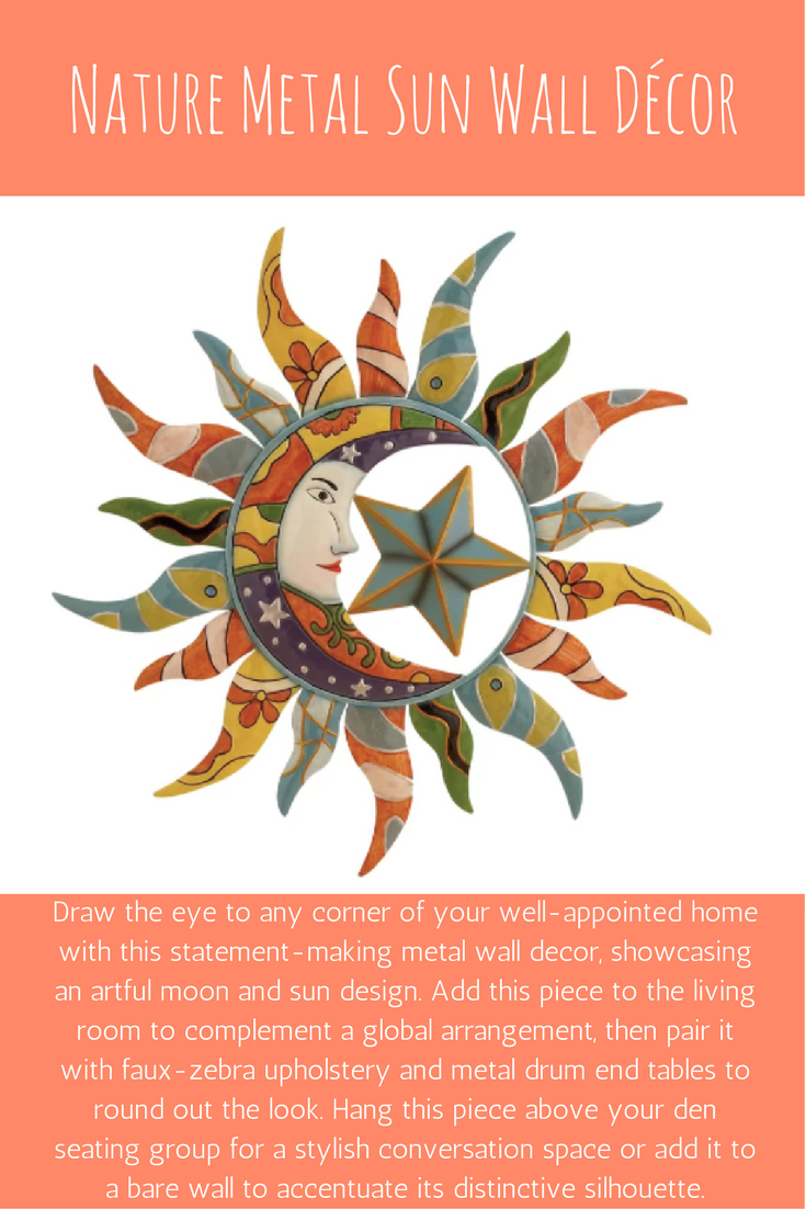 Most Current This Whimsical Sun And Moon Metal Wall Decor Brightens Up Any Room Within Nature Metal Sun Wall Decor (View 6 of 20)