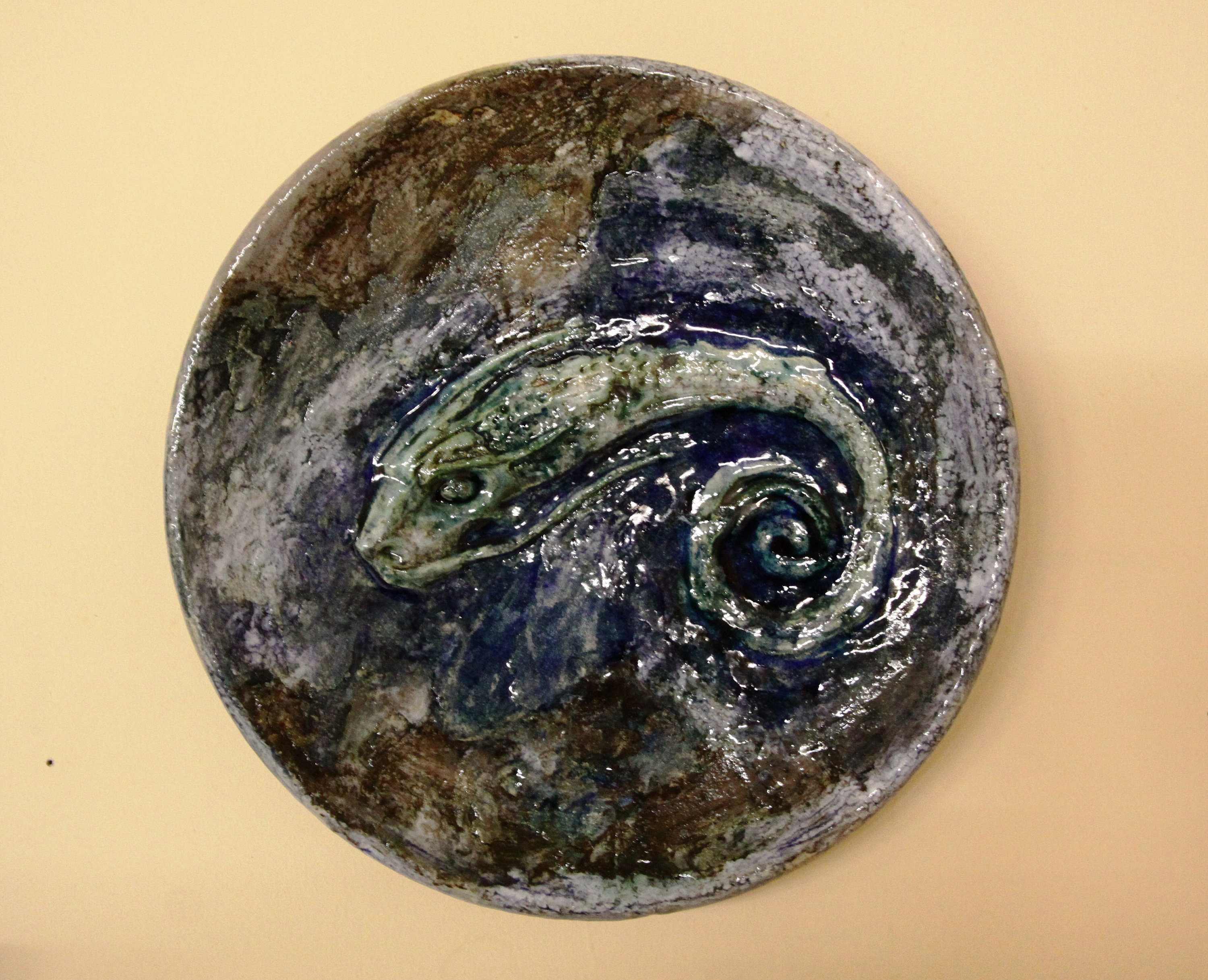 Most Popular Ceramic Blue Fish Plate Wall Decor Regarding Large Ceramic Plate Decorative Plate Wall Decor Crazy Fish (View 15 of 20)