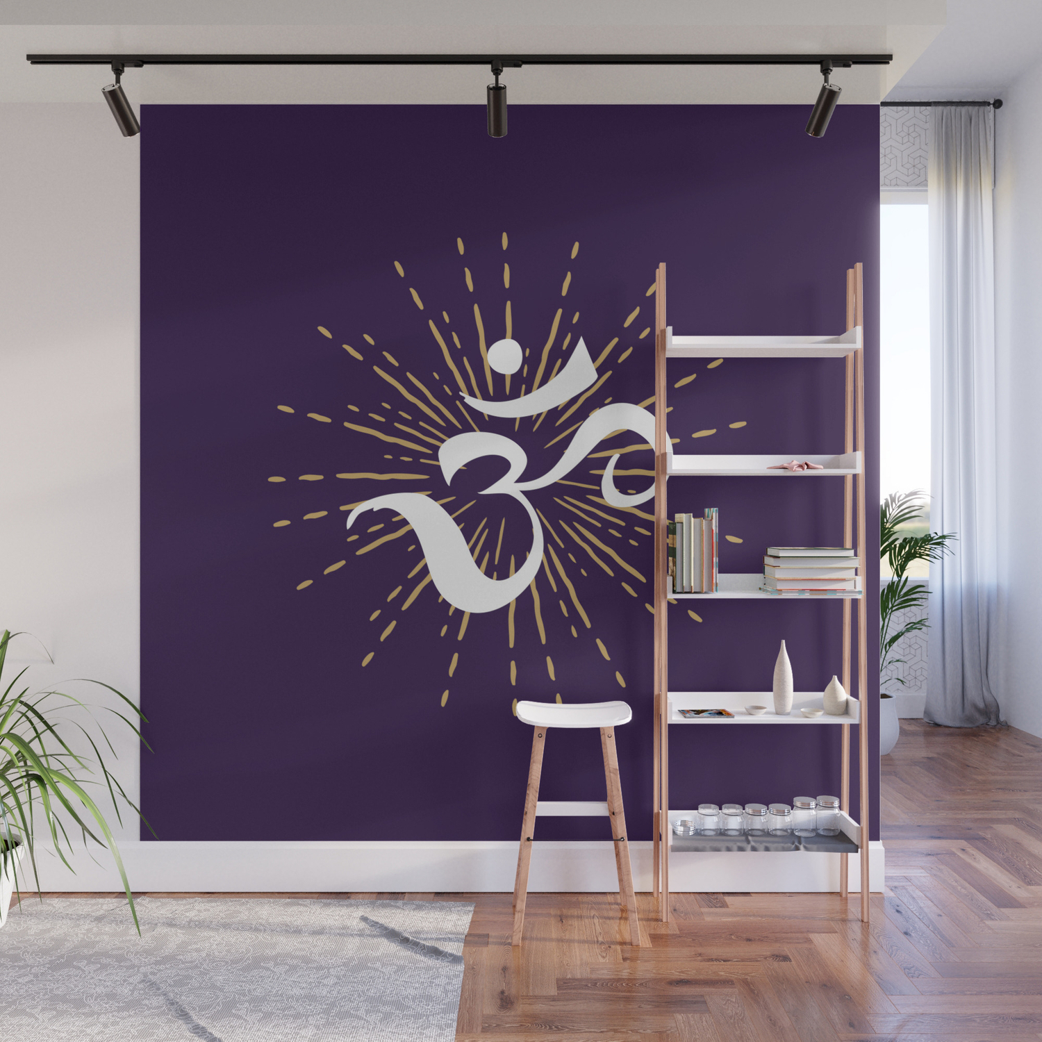 Most Popular Metal Universal Wall Decor Inside Om Mantra Universal Energy Purple Wall Muralgreennatural (View 15 of 20)