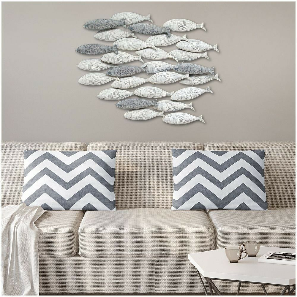 Most Popular School Of Fish Wall Art Sculpture, 3 D Detailed Gray Metal Nautical Throughout Coastal Metal Fish Wall Decor (View 18 of 20)