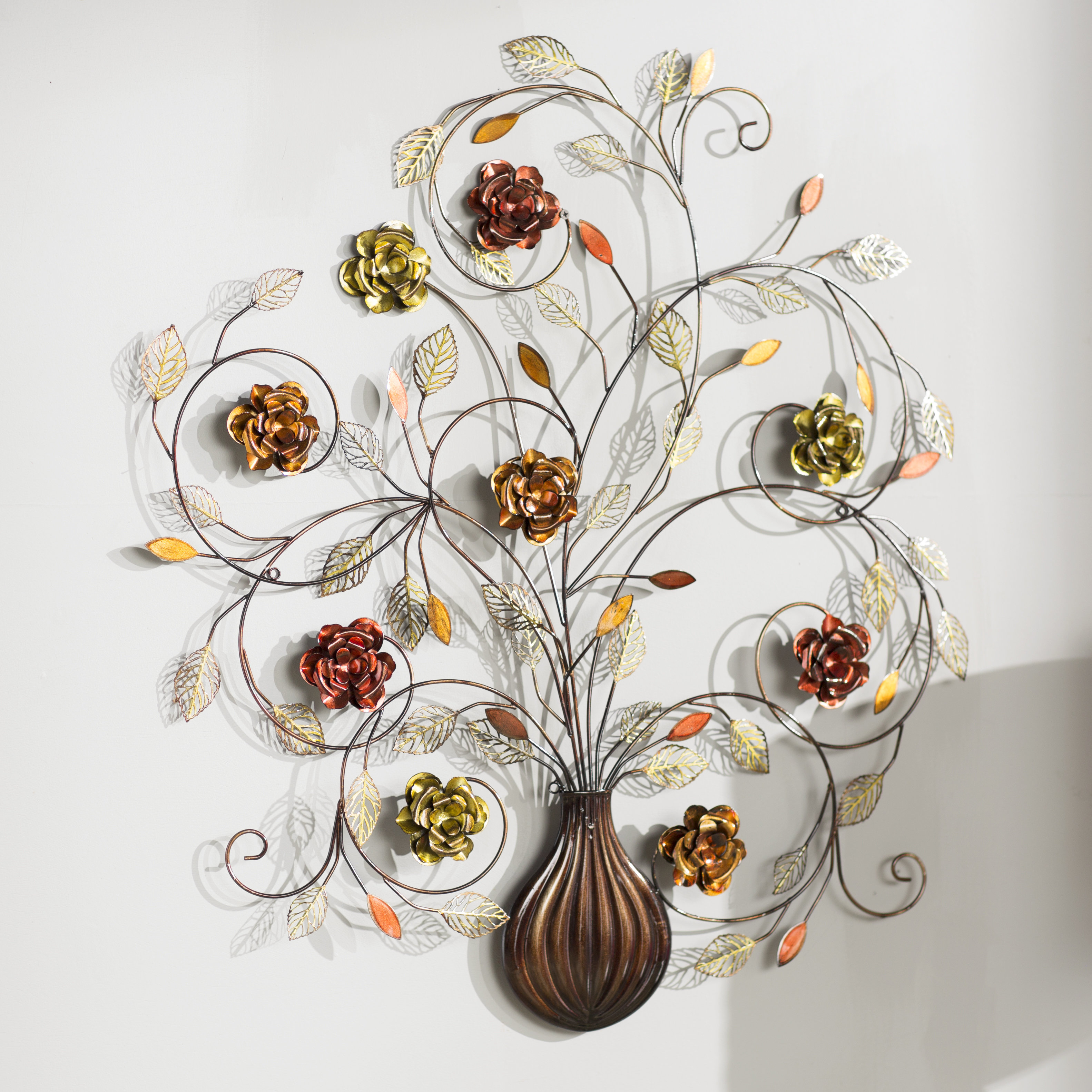 Most Popular Vase And Bowl Wall Decor By Alcott Hill Intended For Alcott Hill Raheem Flowers Metal Wall Décor (View 4 of 20)