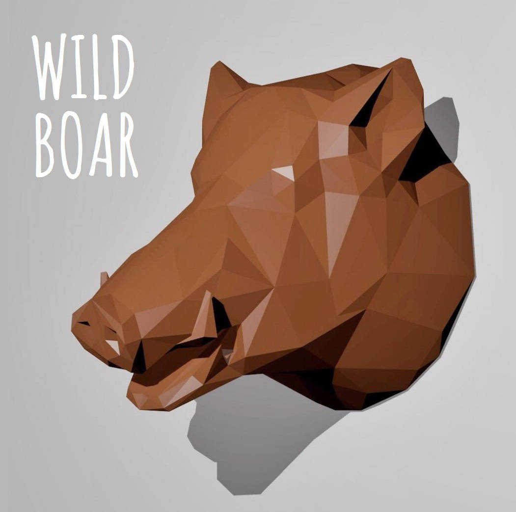 Most Recent Atlantis Faux Taxidermy Wall Decor Pertaining To Trophy Wild Boar / Papercraft Template / Wall Paper Sculpture (View 10 of 20)
