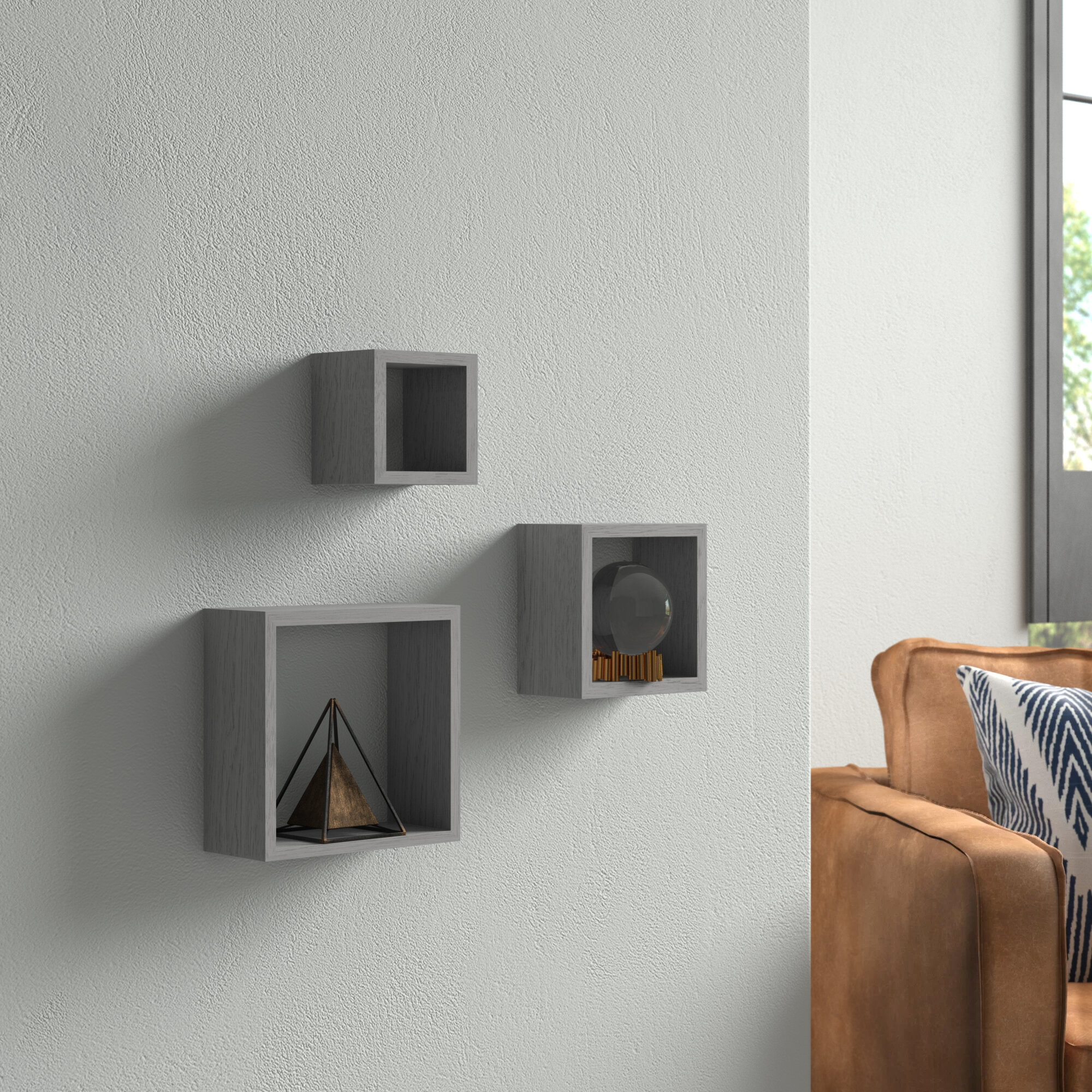 Most Recently Released 3 Piece Wall Decor Sets By Wrought Studio With Wrought Studio Bottoms Cube 3 Piece Wall Shelf Set & Reviews (View 10 of 20)