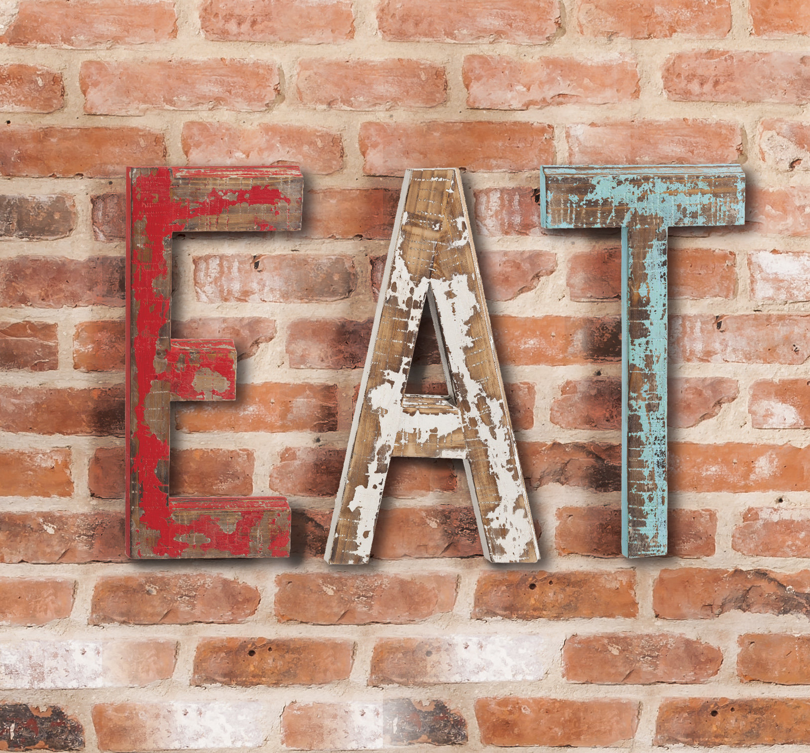 "Most Recently Released Grey ""eat"" Sign With Rebar Decor Throughout Gracie Oaks Eat Letters Wall Decor Eat Letters (View 14 of 20)"