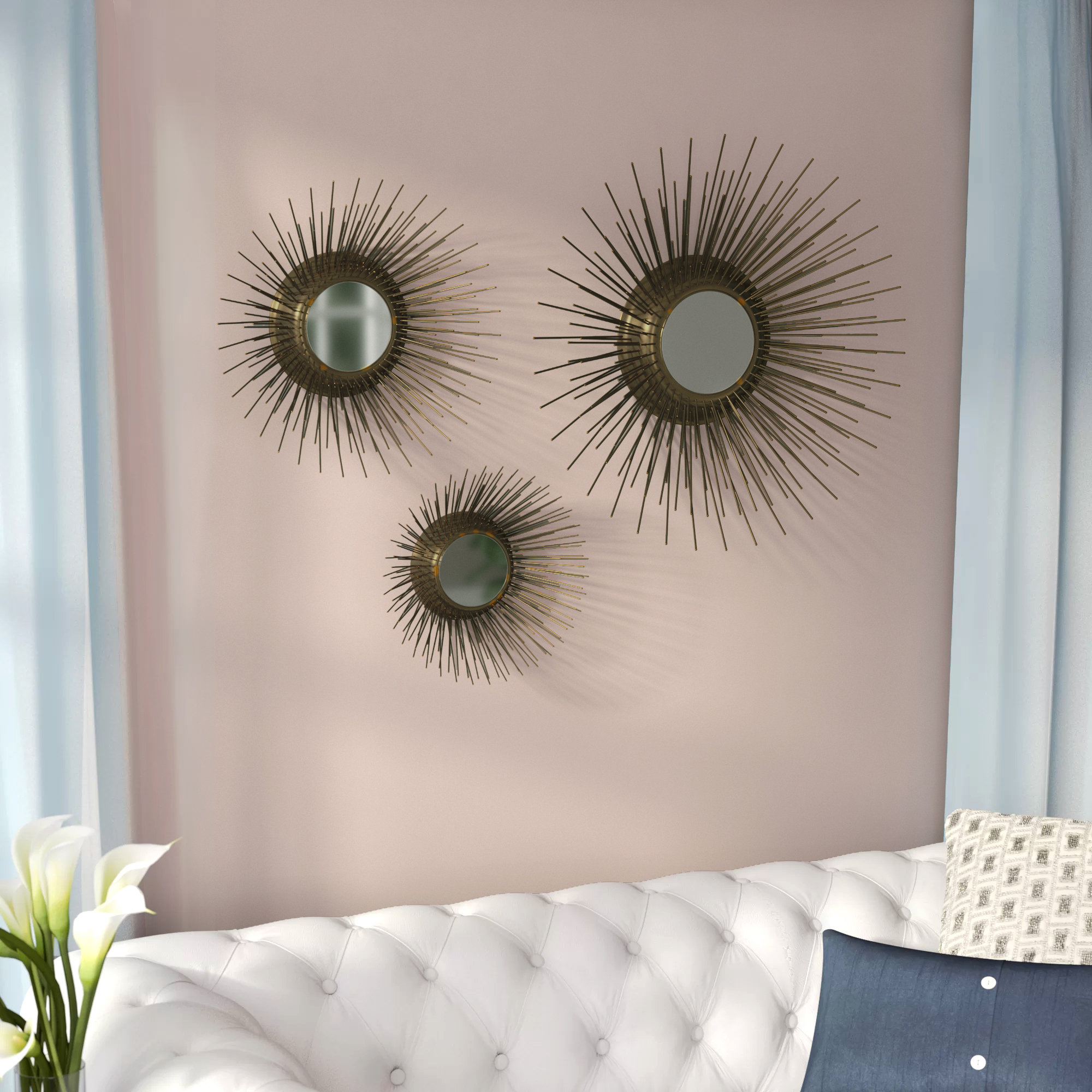 Most Recently Released Starburst Wall Decor By Willa Arlo Interiors In Willa Arlo Interiors Warfel 3 Piece Sunburst Triptych Mirror Set (View 11 of 20)