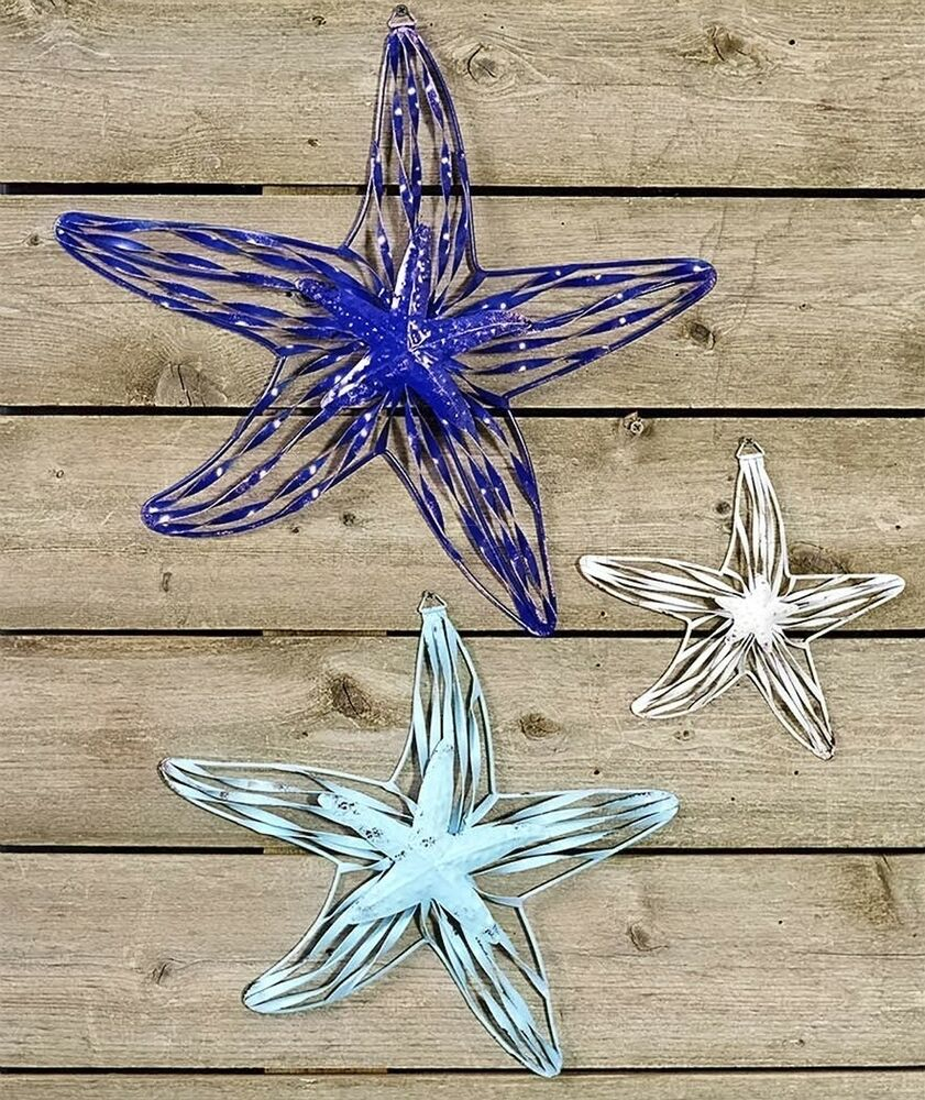 Most Recently Released Yelton 3 Piece Starfish Wall Decor Sets Intended For Starfish 3 Pc Coastal Wall Hanging Set Nautical Beach Ocean Sea Home (View 11 of 20)