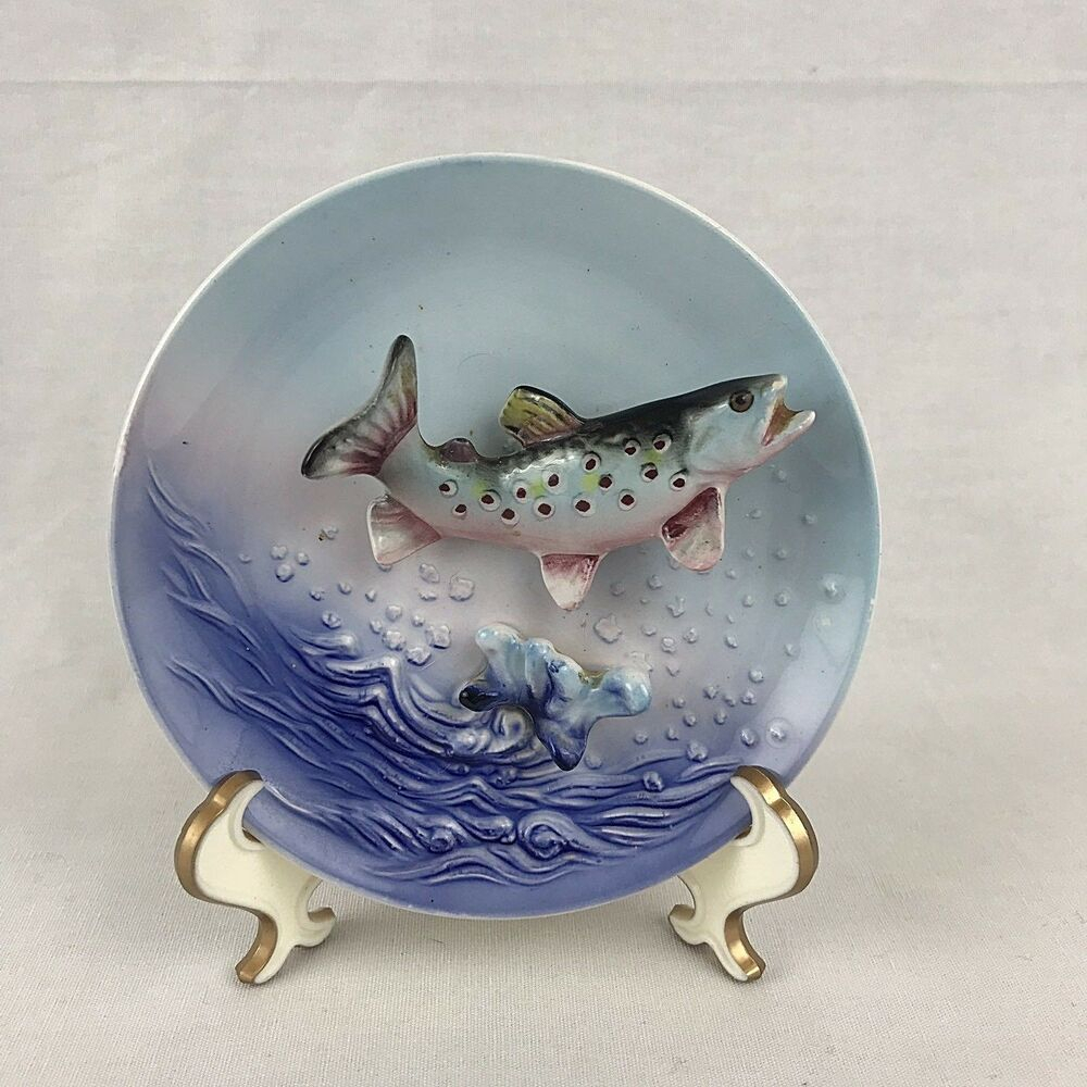 Most Up To Date Ceramic Blue Fish Plate Wall Decor Throughout Lefton 533 Fish Plate Wall Decor Blue 3d Japan Vitnage Trout (View 2 of 20)