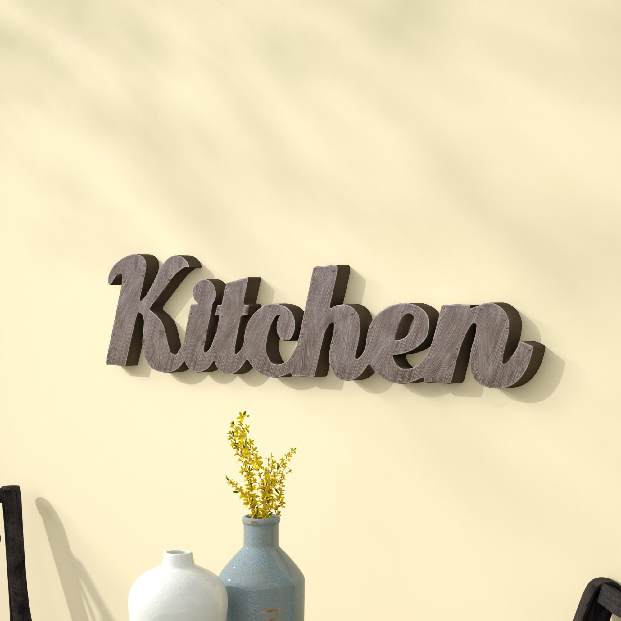 "Most Up To Date Grey ""eat"" Sign With Rebar Decor For Metal Kitchen Wall Decor & Reviews (View 16 of 20)"