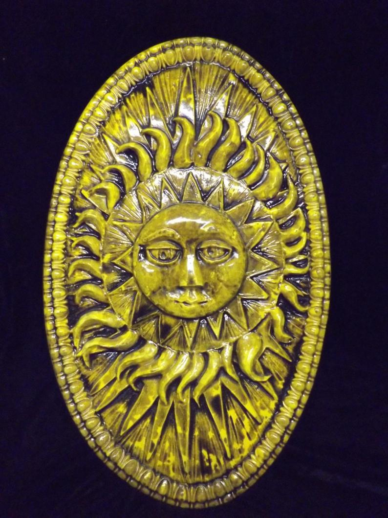 Most Up To Date Large Sun Burst Rays Oval Wall Plaque Round Celestial (View 8 of 20)