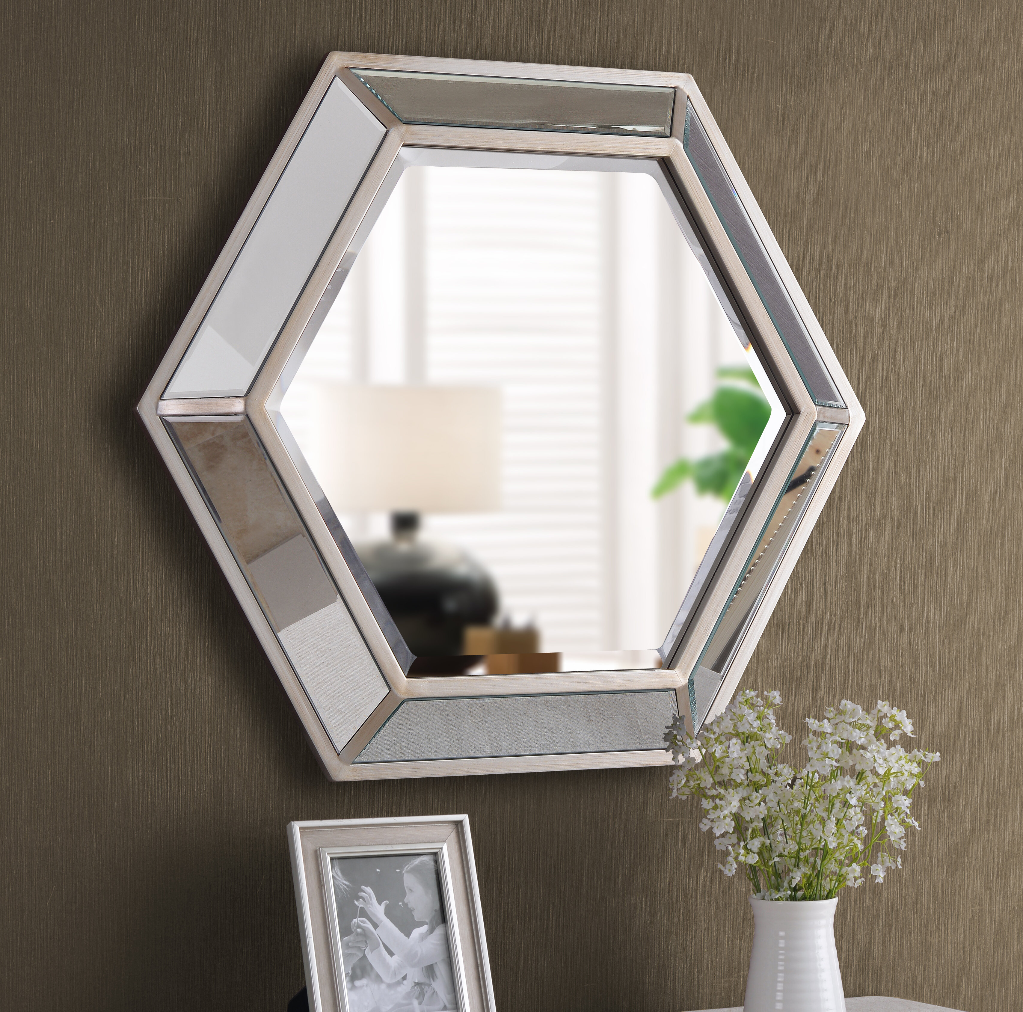 Most Up To Date Rings Wall Decor By Wrought Studio With Regard To Rosdorf Park Tulare Hexagonal D Ring Wall Mounted Accent Mirror (View 8 of 20)