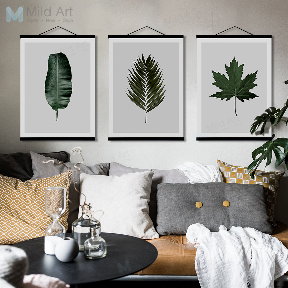 Most Up To Date Scroll Leaf Wall Decor Pertaining To Minimalist Green Plants Maple Leaf Wooden Framed Posters Prints (View 12 of 20)