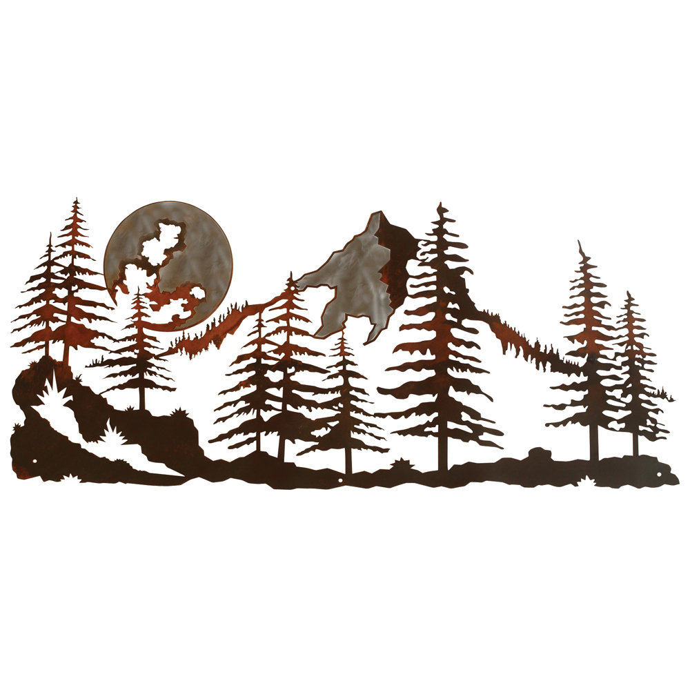 Mountain Scene Burnished Metal Wall Art With Recent Contemporary Forest Metal Wall Decor (View 8 of 20)
